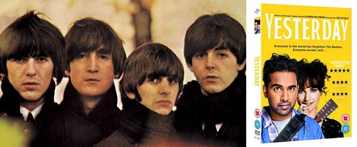 Ban nhạc Beatles(trái) & Poster phim yesterday (phải)